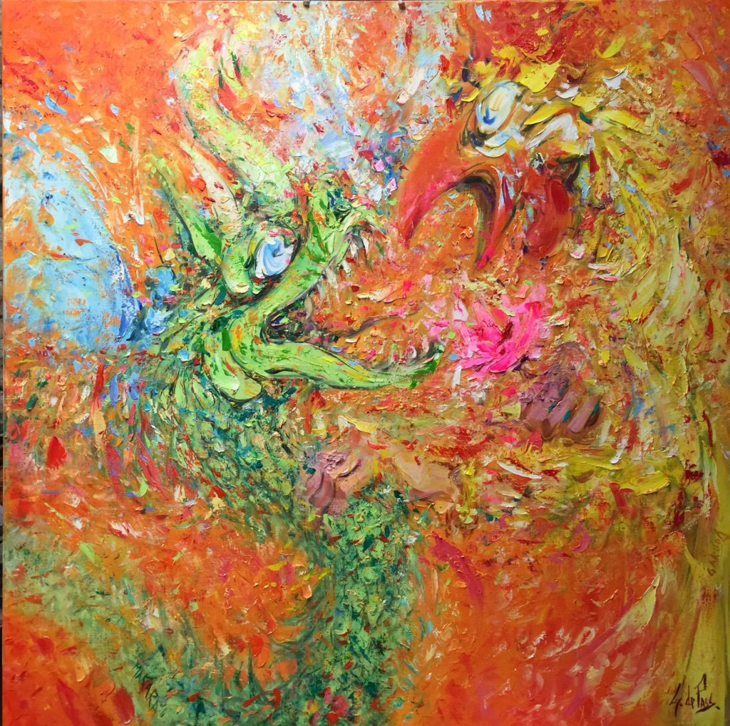 Makara et Garuda à la fleur rose